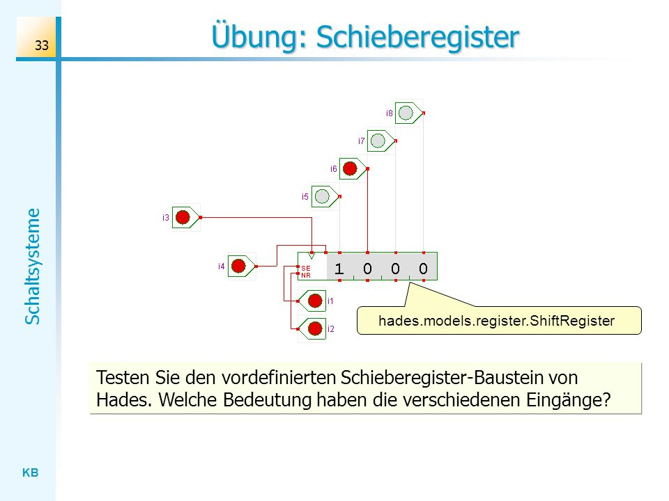 Übung: Schieberegister