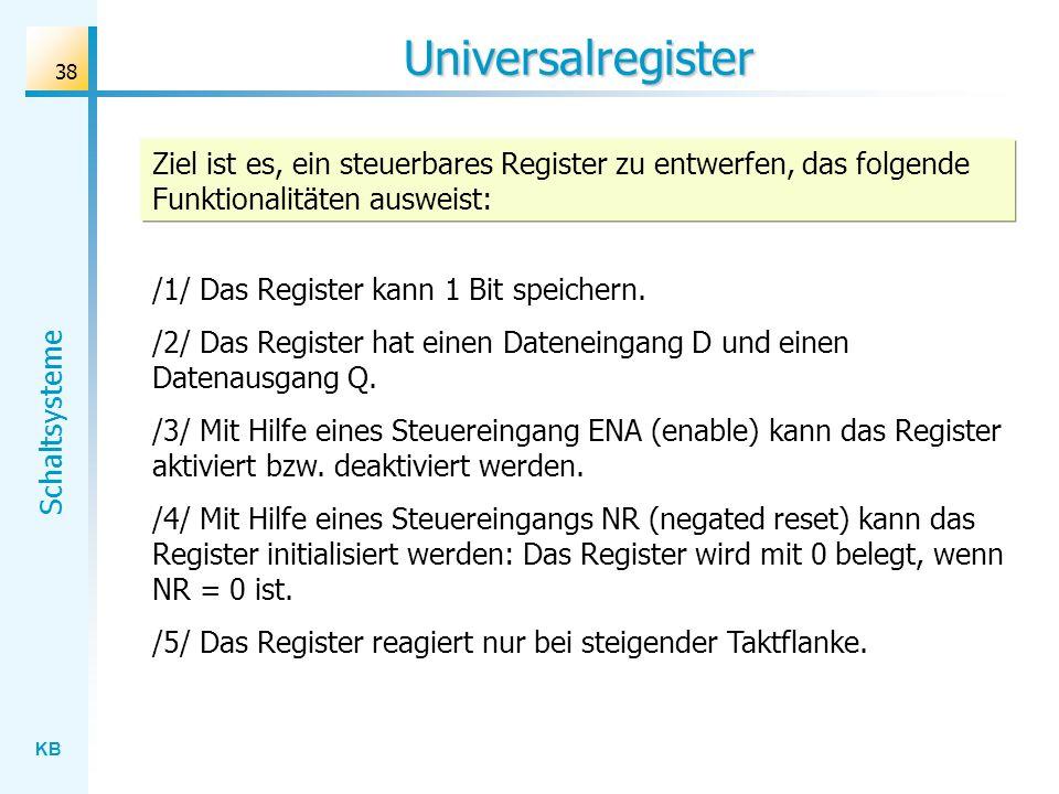 Universalregister Ziel ist es, ein steuerbares Register zu entwerfen, das folgende Funktionalitäten ausweist: