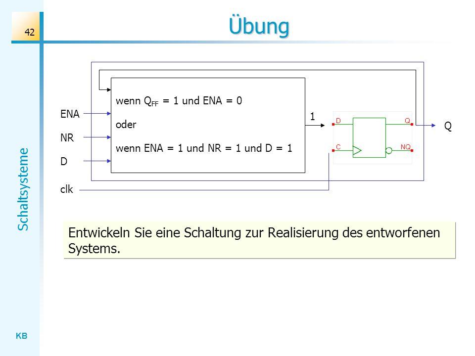 Übungwenn QFF = 1 und ENA = 0. ENA. 1. oder. Q. NR. wenn ENA = 1 und NR = 1 und D = 1. D. clk.