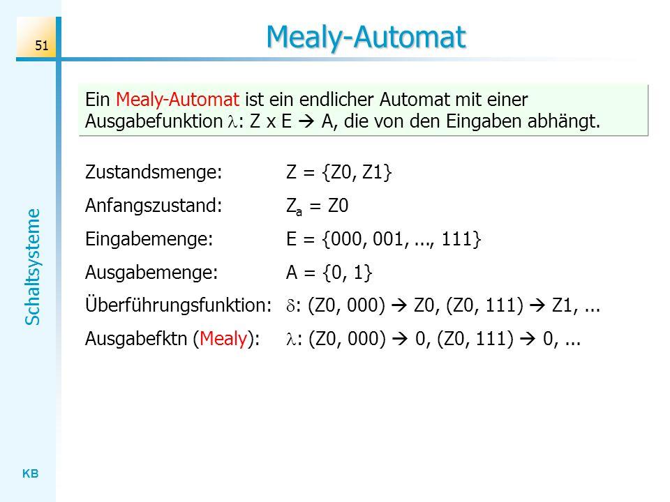 Mealy-AutomatEin Mealy-Automat ist ein endlicher Automat mit einer Ausgabefunktion : Z x E  A, die von den Eingaben abhängt.
