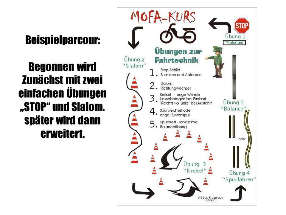 """Beispielparcour: Begonnen wird. Zunächst mit zwei. einfachen Übungen. """"STOP und Slalom. später wird dann."""