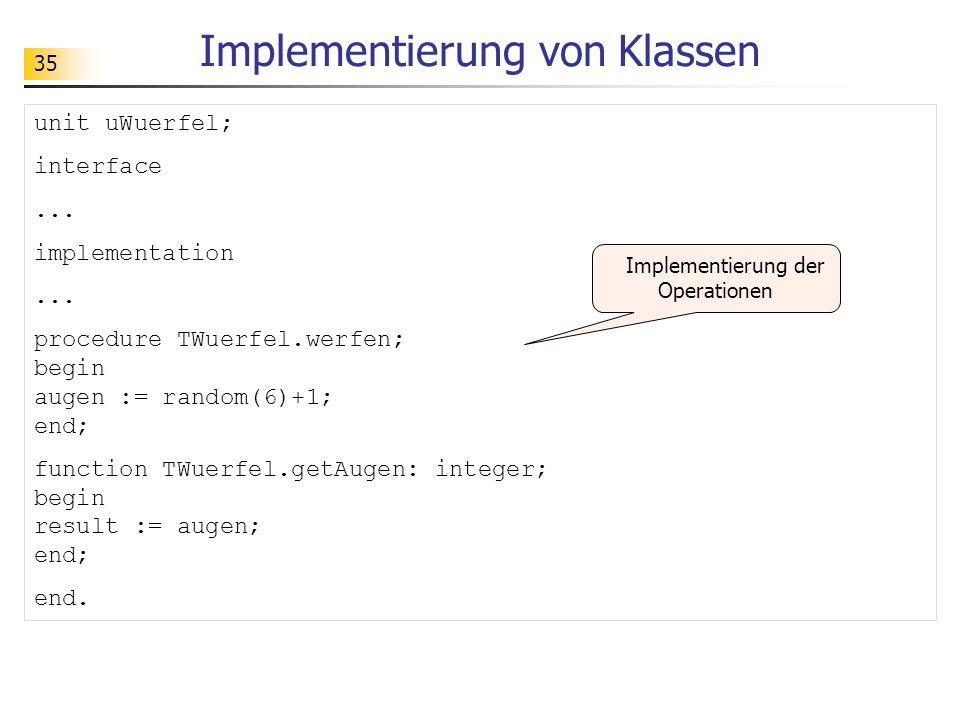 Implementierung von Klassen