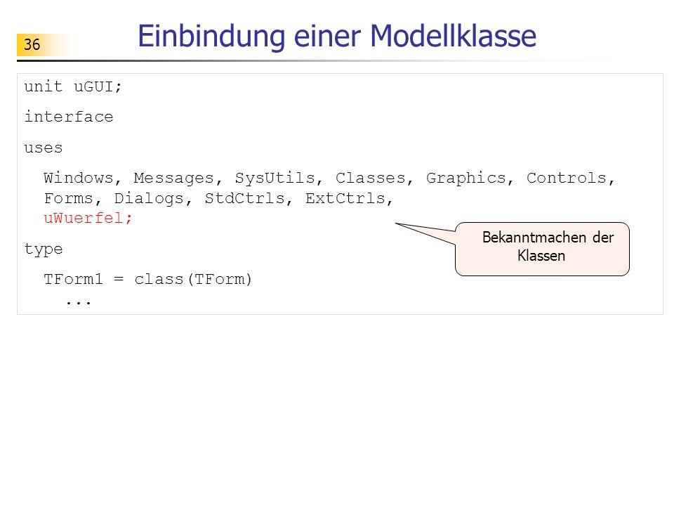 Einbindung einer Modellklasse