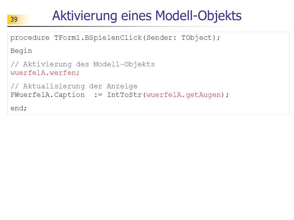 Aktivierung eines Modell-Objekts