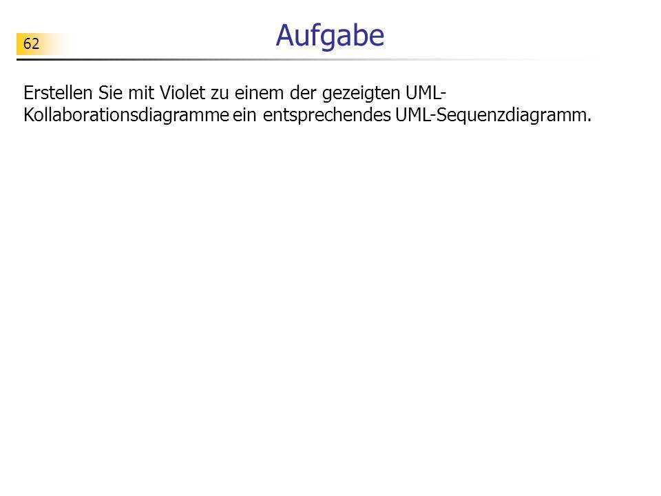Aufgabe Erstellen Sie mit Violet zu einem der gezeigten UML-Kollaborationsdiagramme ein entsprechendes UML-Sequenzdiagramm.