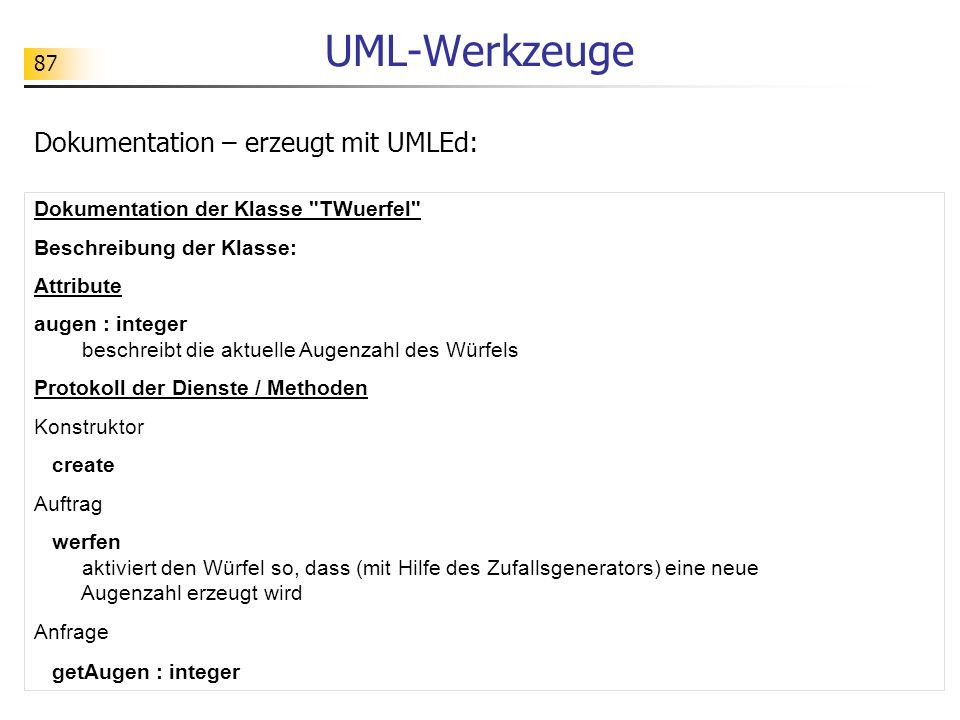 UML-Werkzeuge Dokumentation – erzeugt mit UMLEd: