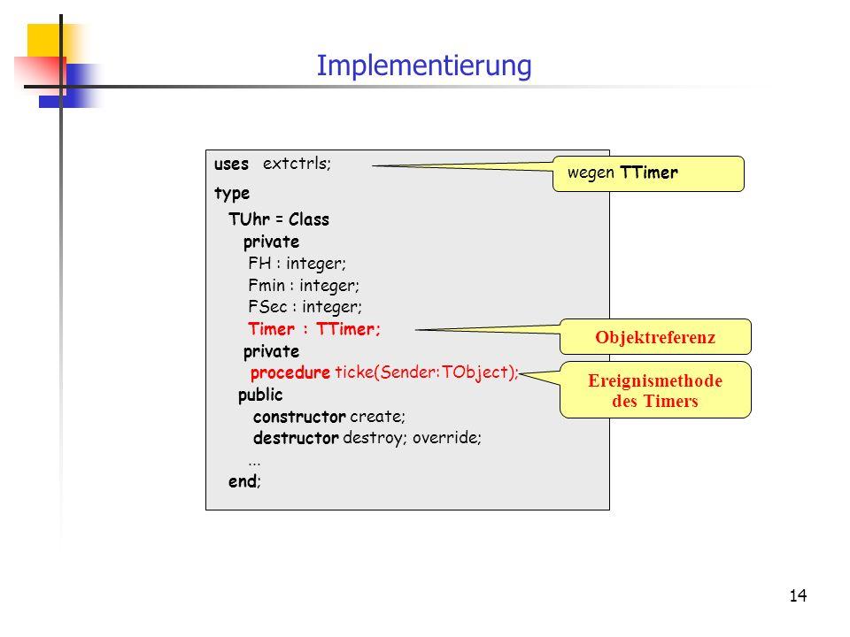 Implementierung Objektreferenz Ereignismethode des Timers