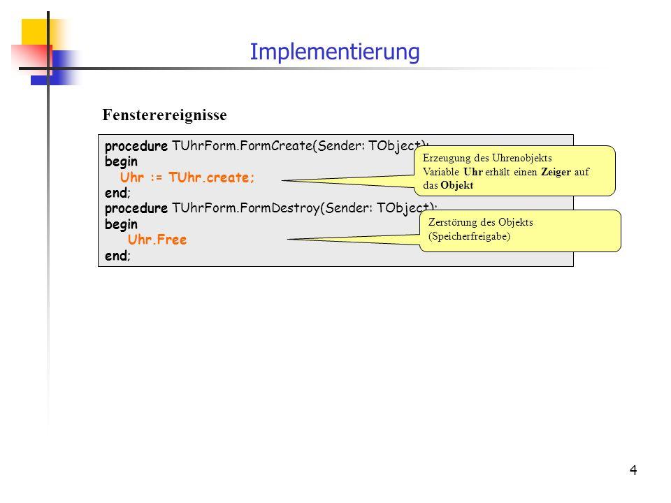 Implementierung Fensterereignisse