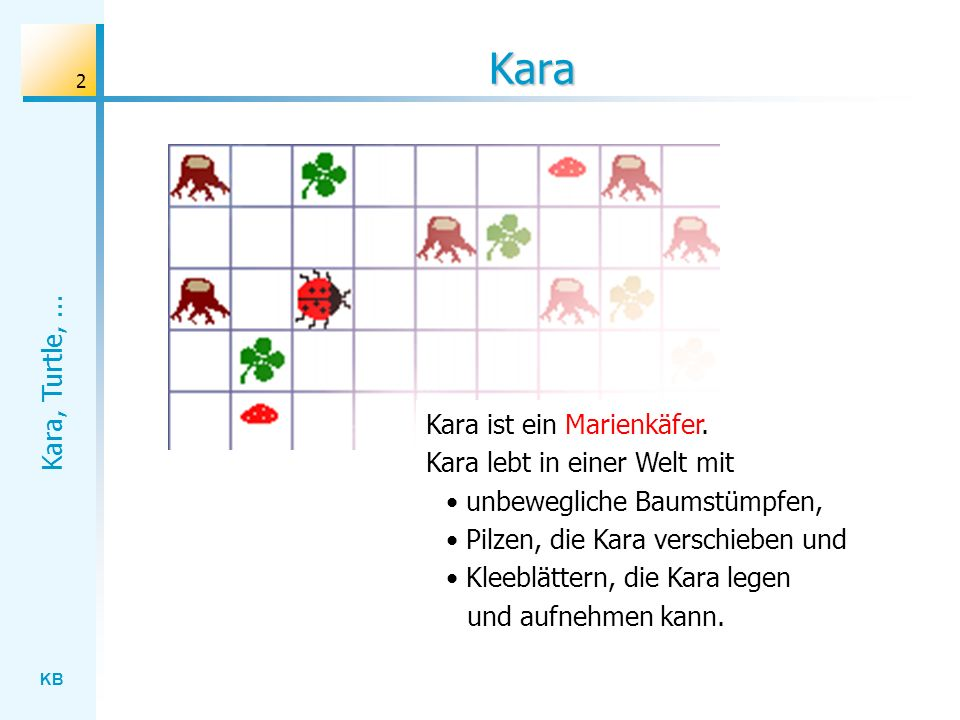 Kara Kara ist ein Marienkäfer. Kara lebt in einer Welt mit
