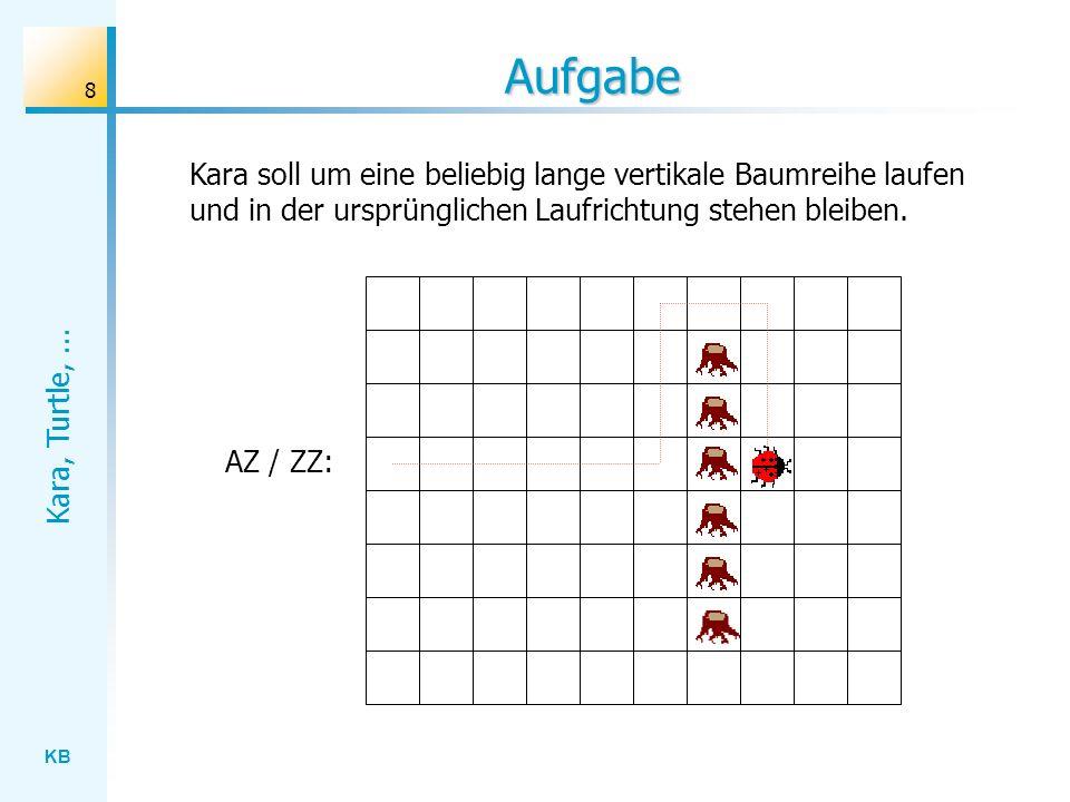 Aufgabe Kara soll um eine beliebig lange vertikale Baumreihe laufen und in der ursprünglichen Laufrichtung stehen bleiben.