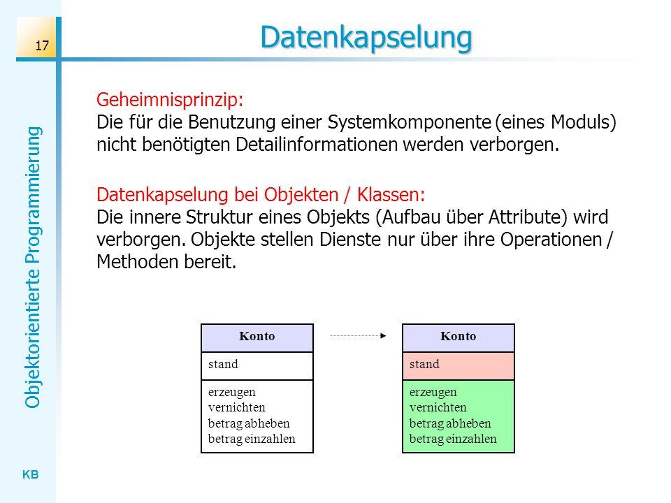 Datenkapselung Geheimnisprinzip: Die für die Benutzung einer Systemkomponente (eines Moduls) nicht benötigten Detailinformationen werden verborgen.