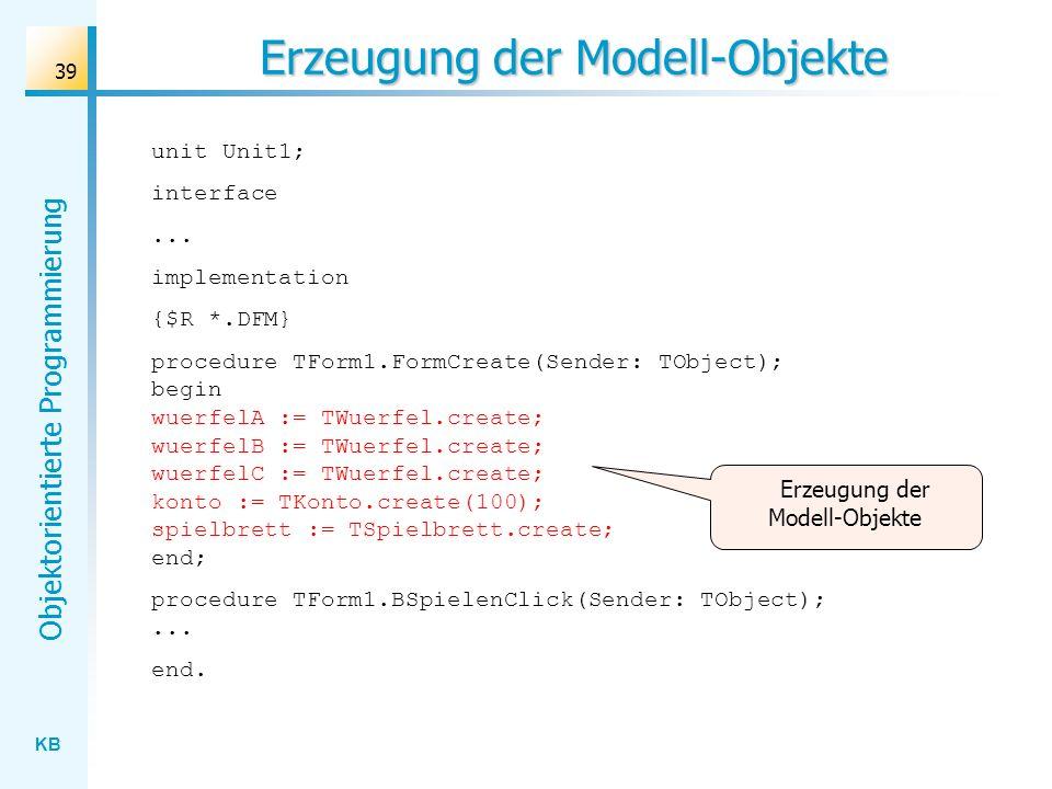 Erzeugung der Modell-Objekte
