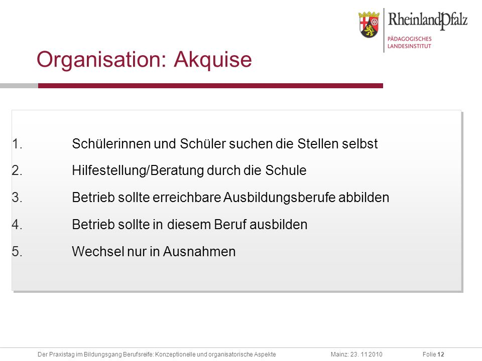 Organisation: Akquise