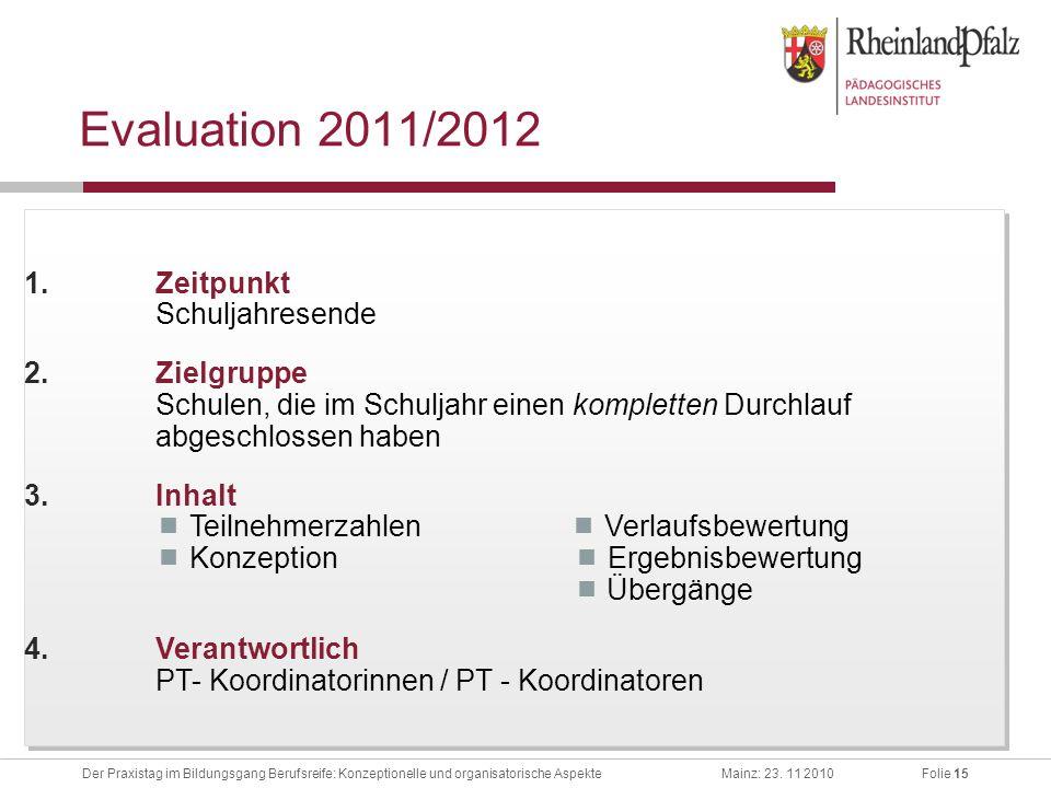 Evaluation 2011/2012 Zeitpunkt Schuljahresende