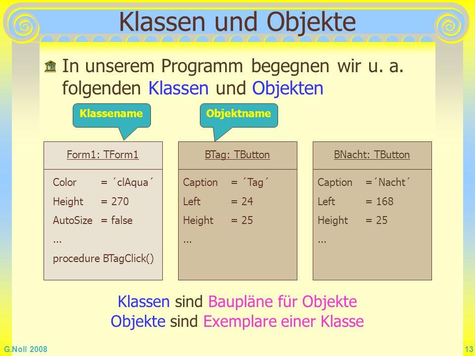 Klassen und Objekte In unserem Programm begegnen wir u. a. folgenden Klassen und Objekten. Klassename.