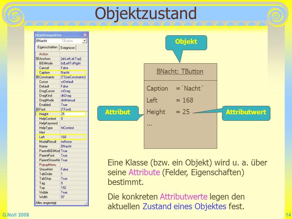 Objektzustand Objekt. BNacht: TButton. Caption =´Nacht´ Left = 168. Height = 25. ... Attribut.