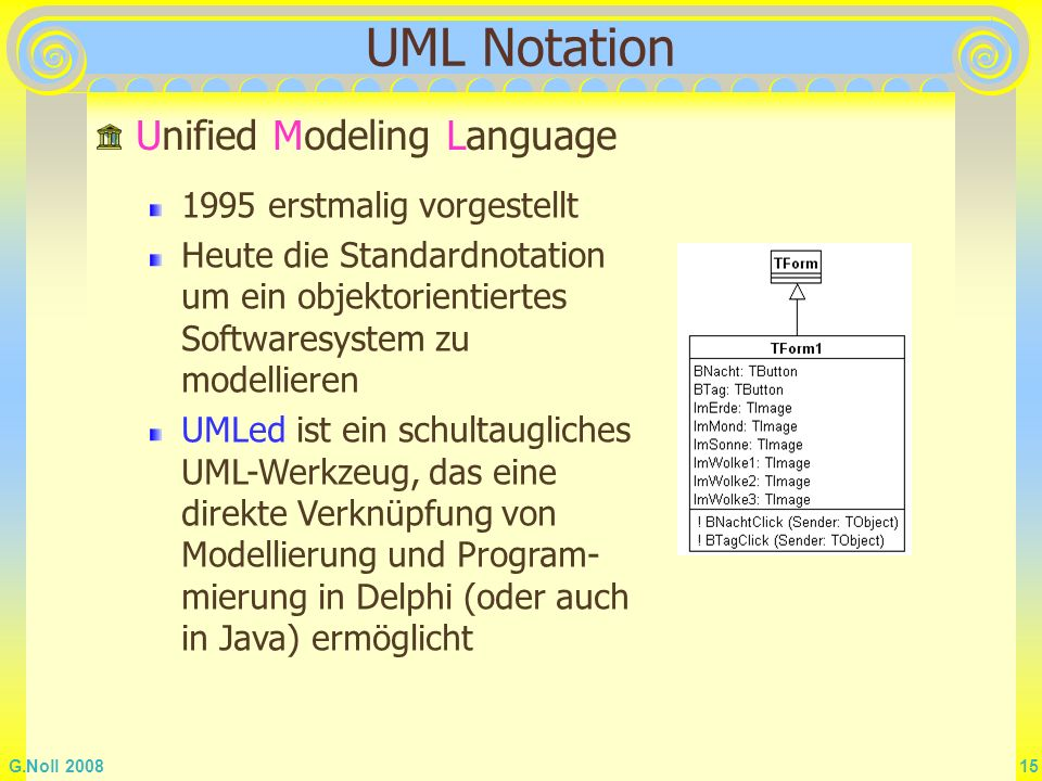 UML Notation Unified Modeling Language 1995 erstmalig vorgestellt