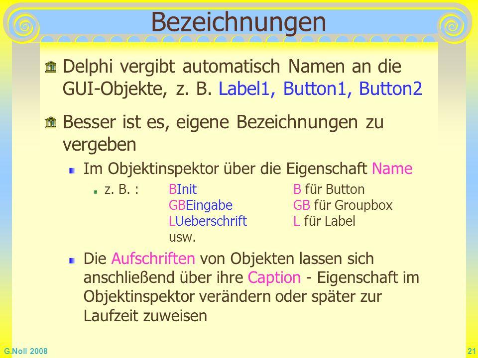 Bezeichnungen Delphi vergibt automatisch Namen an die GUI-Objekte, z. B. Label1, Button1, Button2. Besser ist es, eigene Bezeichnungen zu vergeben.
