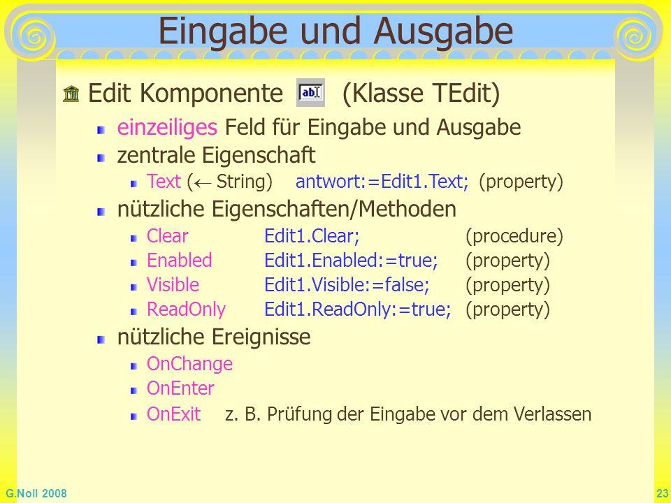 Eingabe und Ausgabe Edit Komponente (Klasse TEdit)