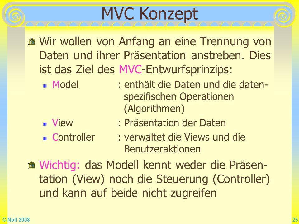 MVC Konzept Wir wollen von Anfang an eine Trennung von Daten und ihrer Präsentation anstreben. Dies ist das Ziel des MVC-Entwurfsprinzips: