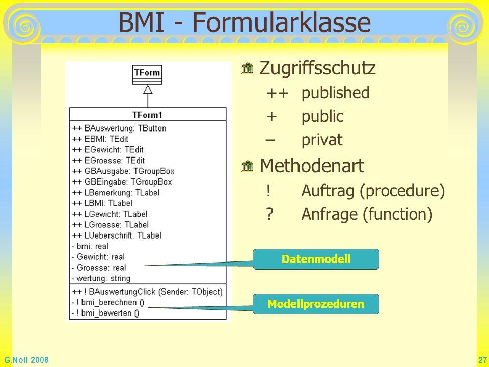 BMI - Formularklasse Zugriffsschutz Methodenart ++ published + public