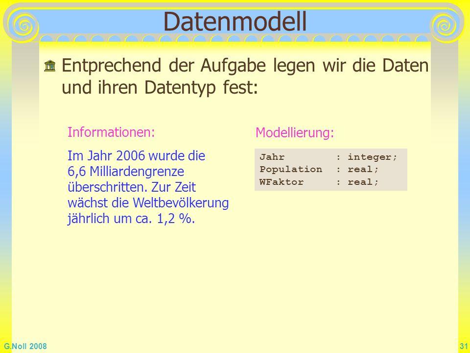 Datenmodell Entprechend der Aufgabe legen wir die Daten und ihren Datentyp fest: Informationen: