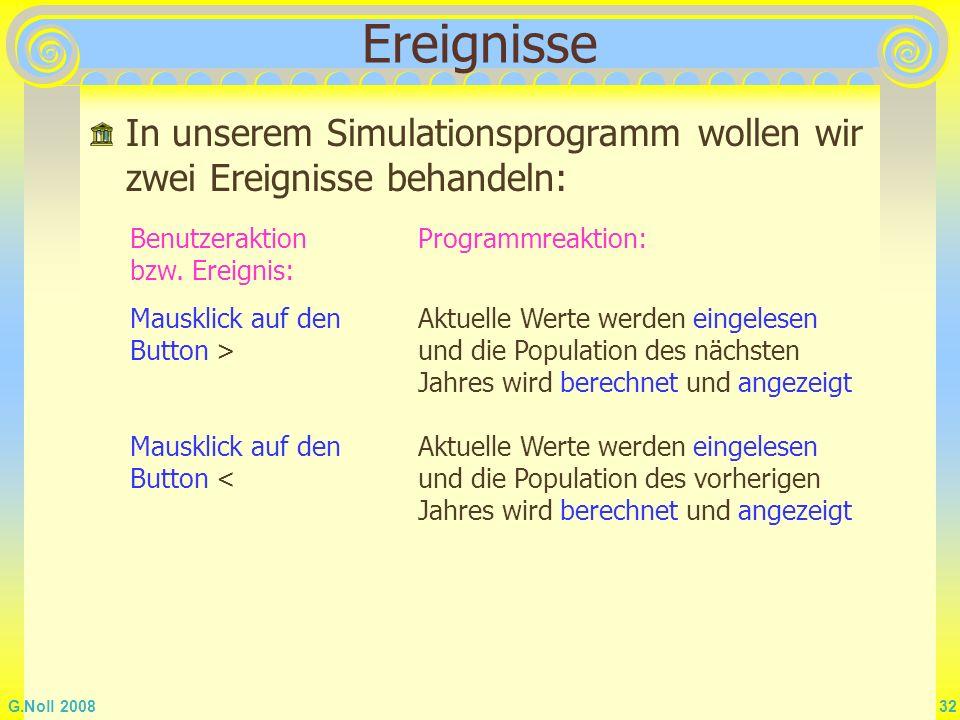 Ereignisse In unserem Simulationsprogramm wollen wir zwei Ereignisse behandeln: Benutzeraktion bzw. Ereignis: