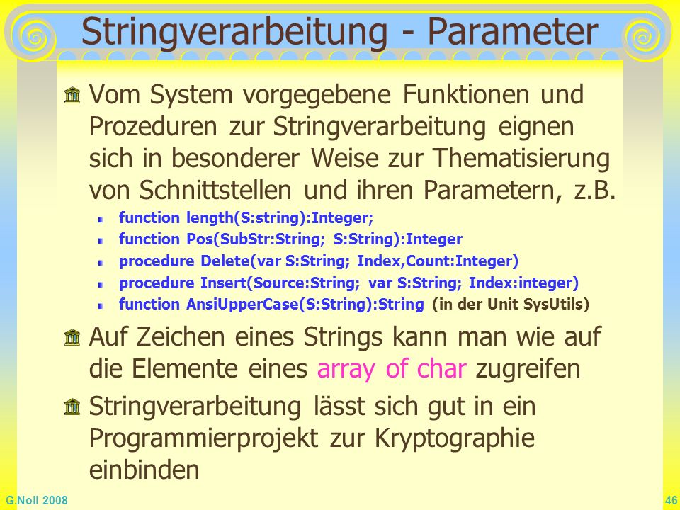 Stringverarbeitung - Parameter