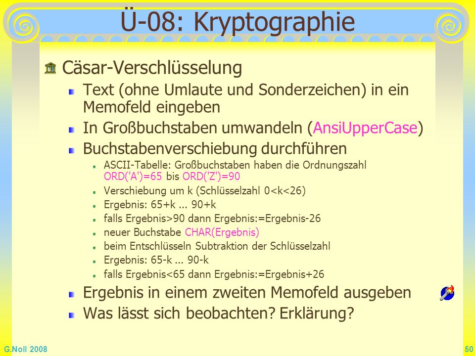 Ü-08: Kryptographie Cäsar-Verschlüsselung