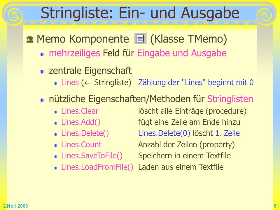 Stringliste: Ein- und Ausgabe