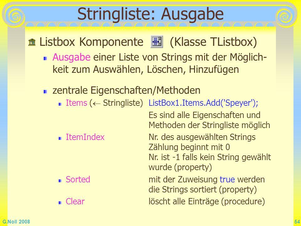 Stringliste: Ausgabe Listbox Komponente (Klasse TListbox)