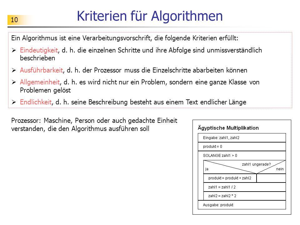 Kriterien für Algorithmen
