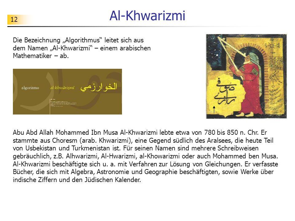"""Al-KhwarizmiDie Bezeichnung """"Algorithmus leitet sich aus dem Namen """"Al-Khwarizmi – einem arabischen Mathematiker – ab."""