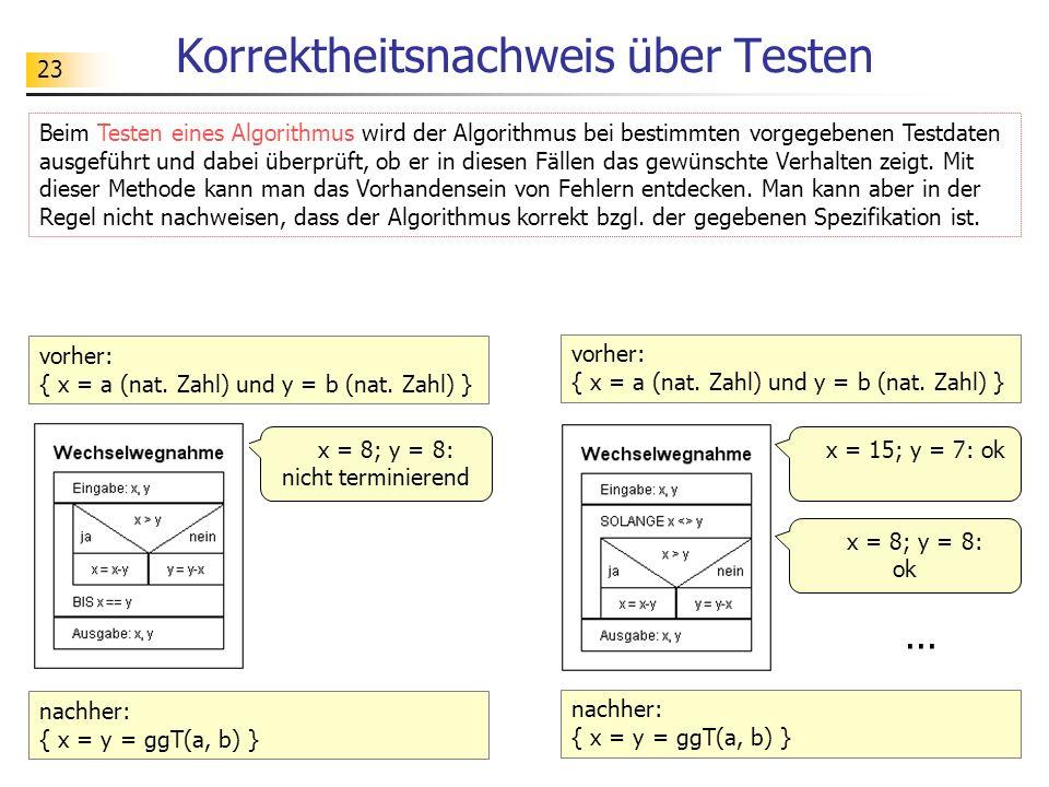 Korrektheitsnachweis über Testen