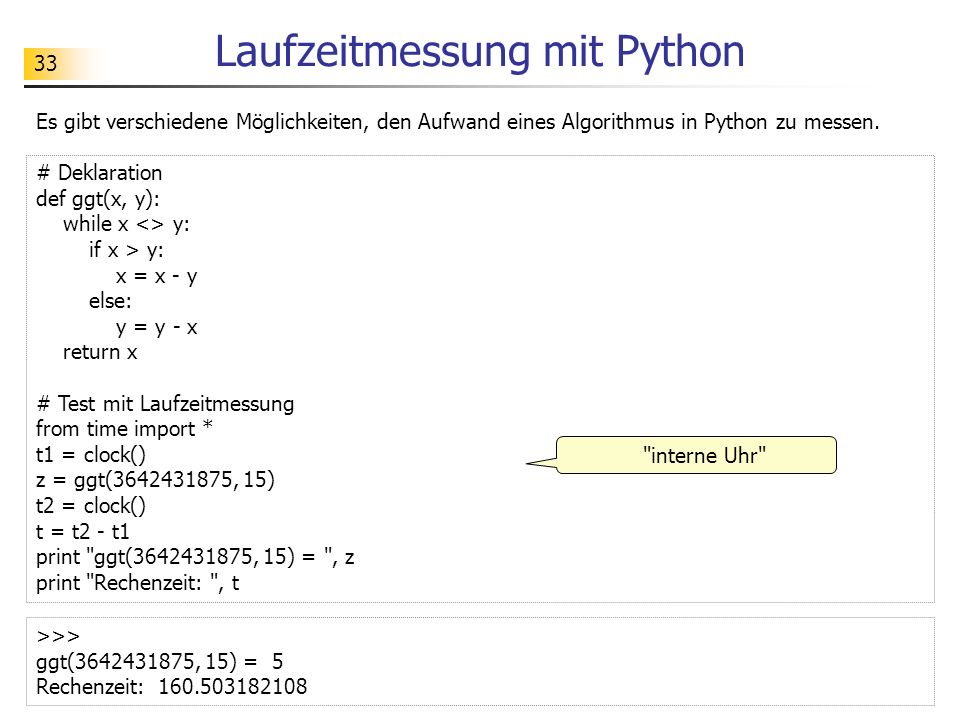 Laufzeitmessung mit Python