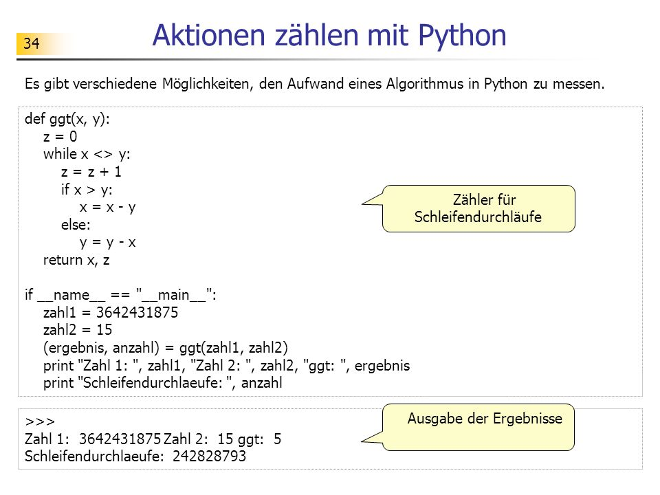 Aktionen zählen mit Python