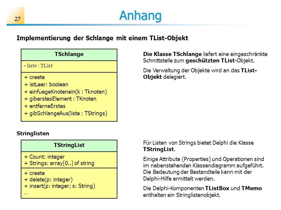 Anhang Implementierung der Schlange mit einem TList-Objekt TSchlange