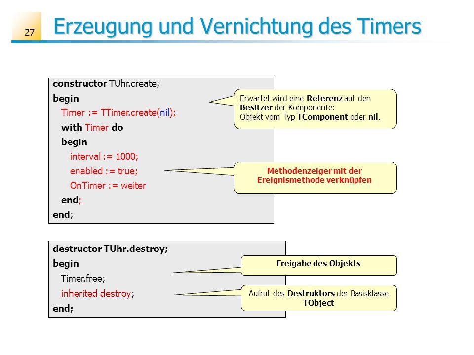 Erzeugung und Vernichtung des Timers