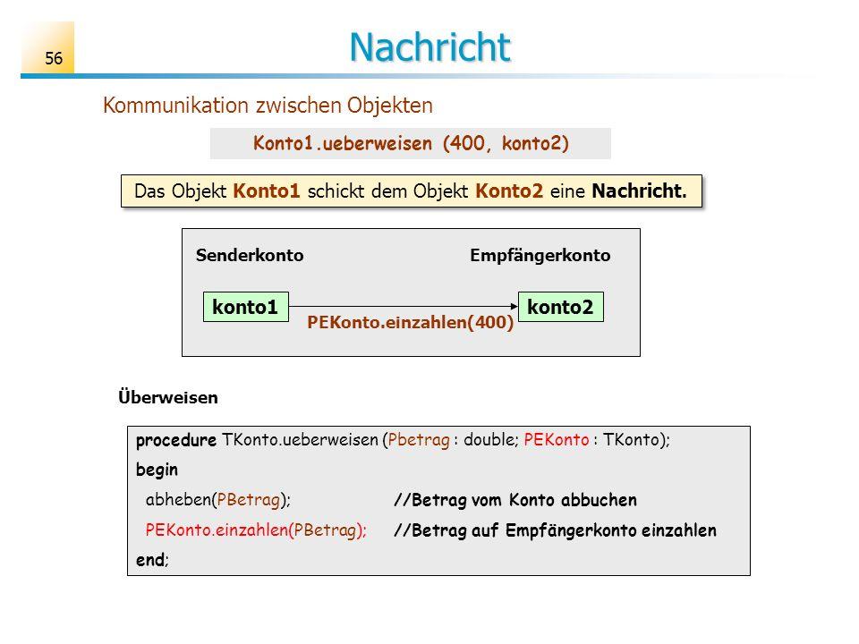 Konto1.ueberweisen (400, konto2)