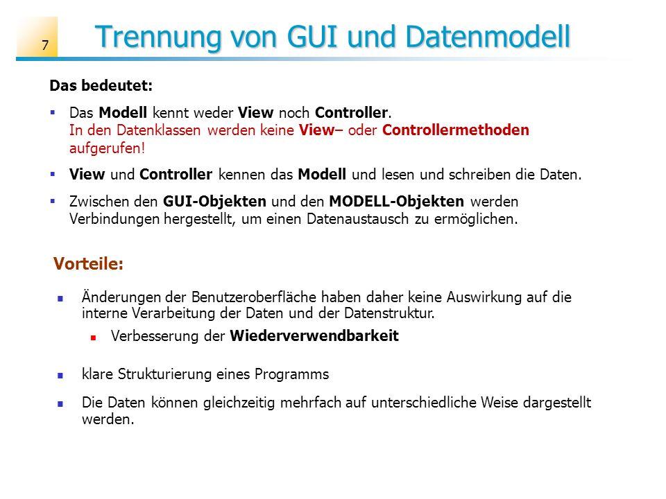 Trennung von GUI und Datenmodell