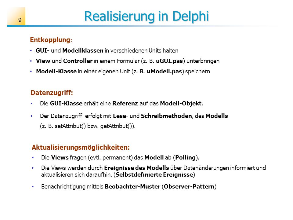 Realisierung in Delphi