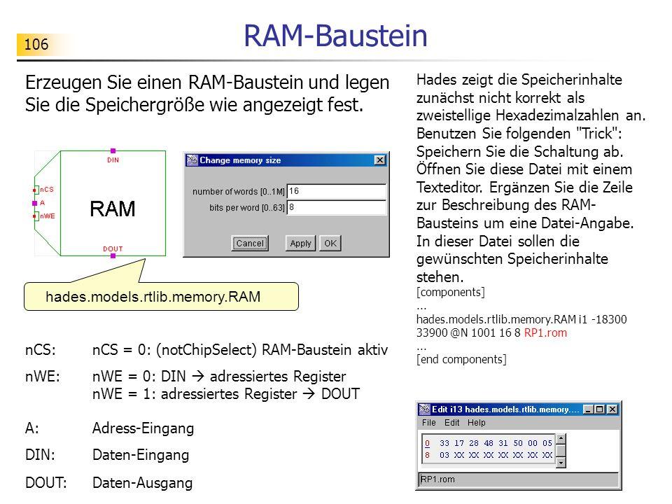 RAM-Baustein Erzeugen Sie einen RAM-Baustein und legen Sie die Speichergröße wie angezeigt fest.