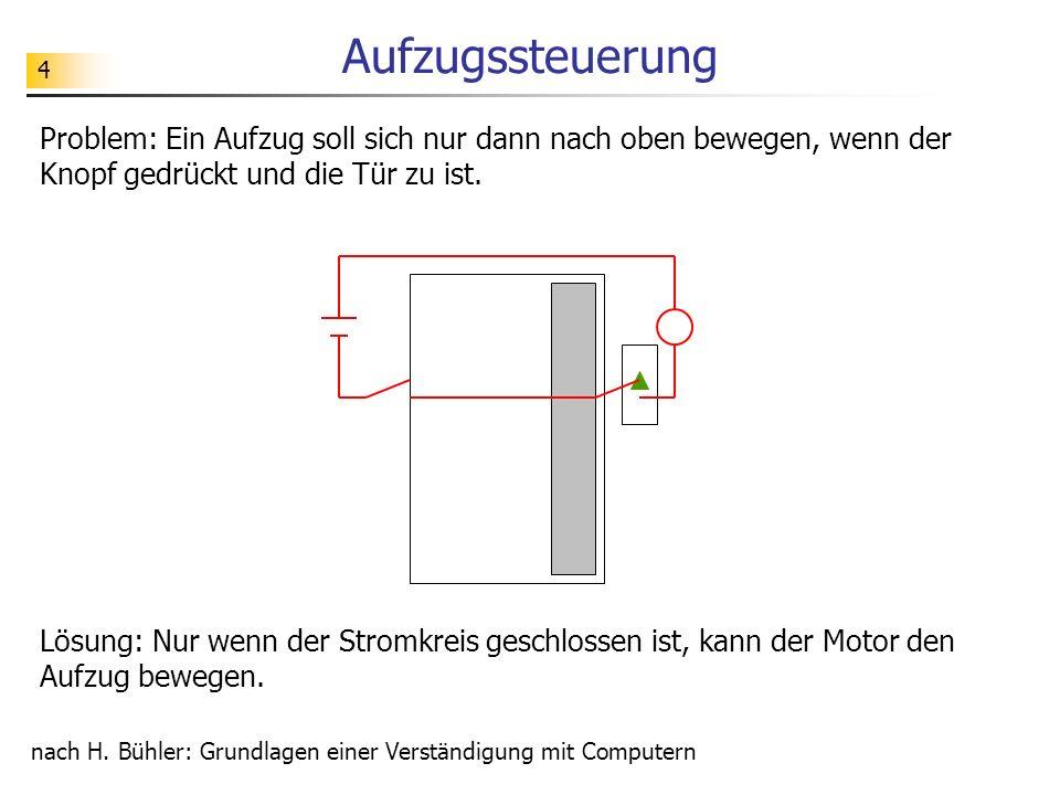 Aufzugssteuerung Problem: Ein Aufzug soll sich nur dann nach oben bewegen, wenn der Knopf gedrückt und die Tür zu ist.