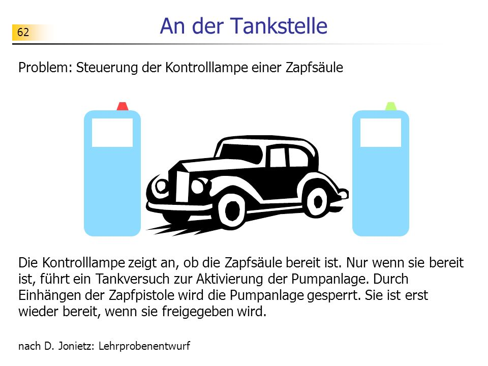 An der Tankstelle Problem: Steuerung der Kontrolllampe einer Zapfsäule