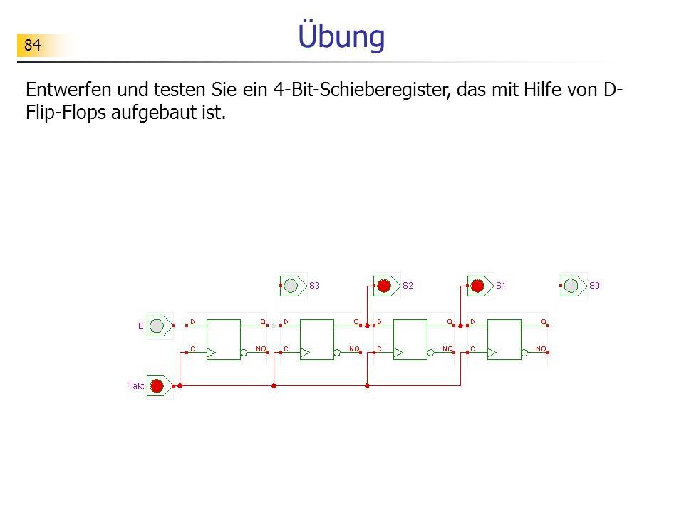 Übung Entwerfen und testen Sie ein 4-Bit-Schieberegister, das mit Hilfe von D-Flip-Flops aufgebaut ist.