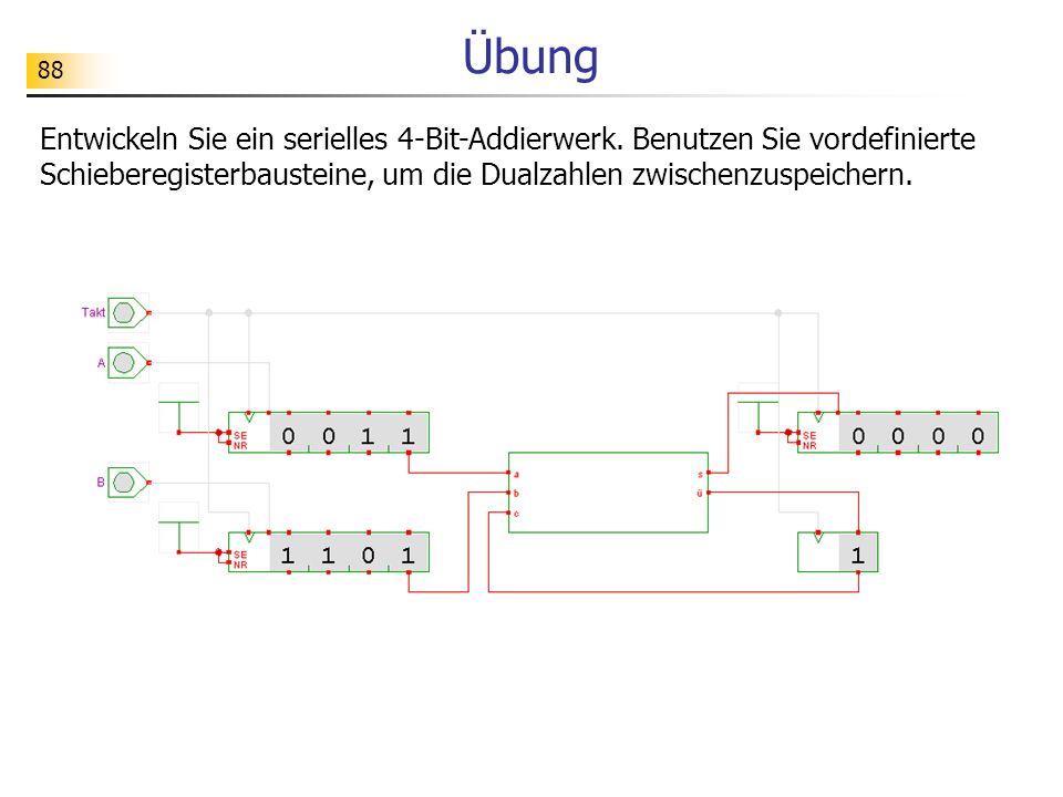 Übung Entwickeln Sie ein serielles 4-Bit-Addierwerk.