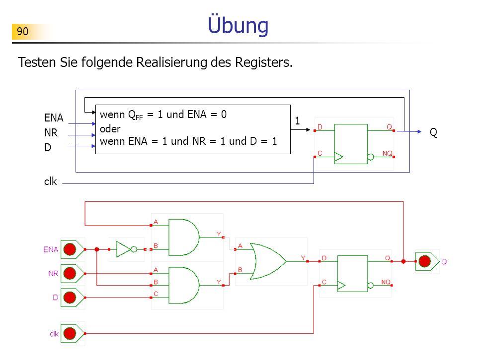 Übung Testen Sie folgende Realisierung des Registers.