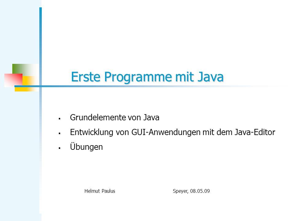 Erste Programme mit Java