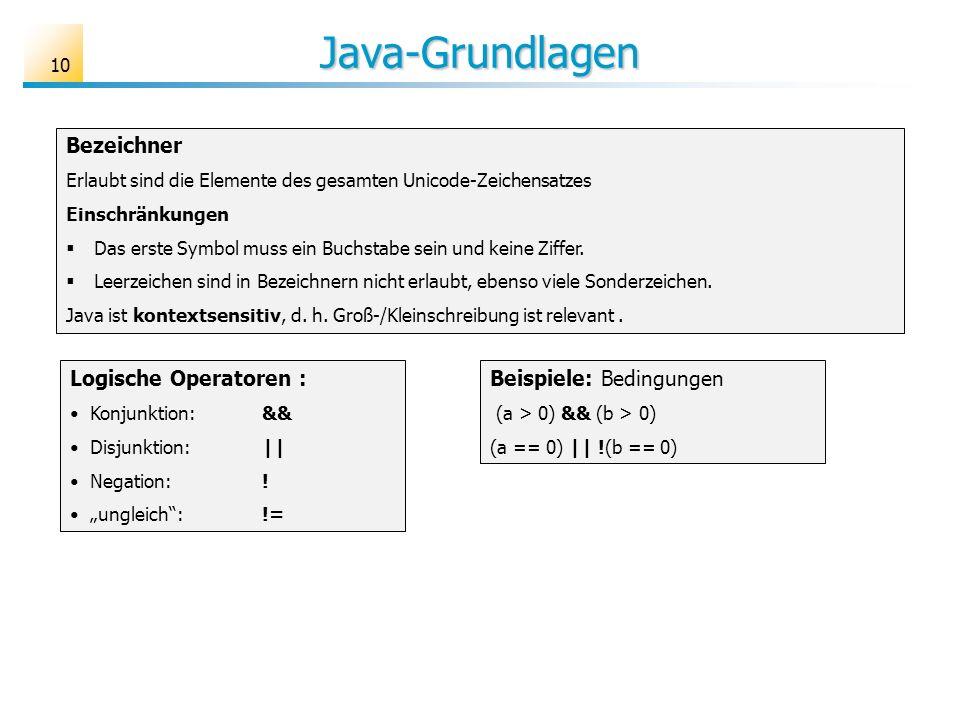 Java-Grundlagen Bezeichner Logische Operatoren :