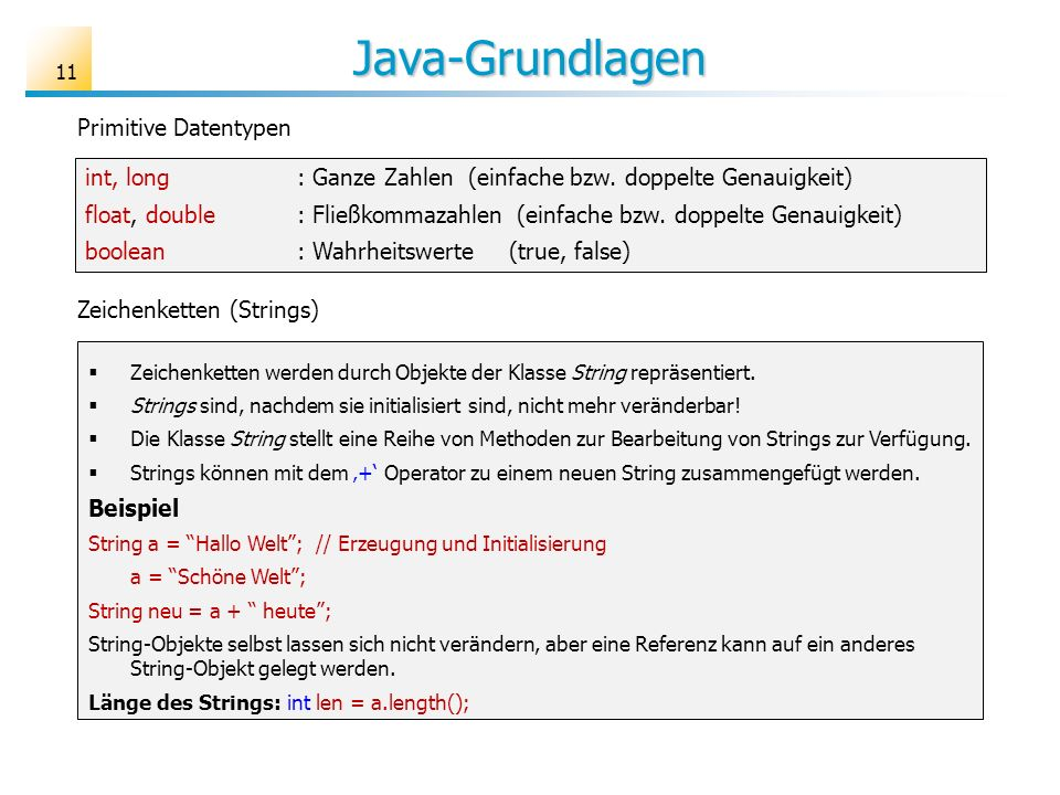 Java-Grundlagen Primitive Datentypen